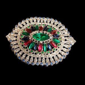 Art Deco Jeweled Rhinestone Brooch